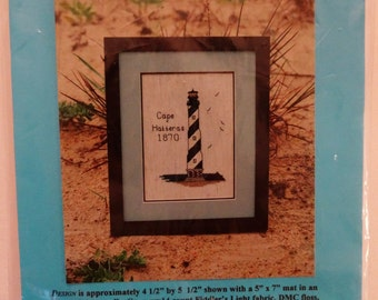 """Cape Hatteras Lighthouse Counted Cross Stitch Kit Beach Light House Black White Banded NC Historic 1998 Kathleen Morrison 4.5x5.5"""""""