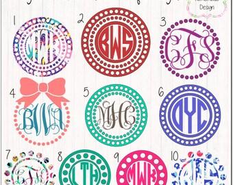 Circle Monogram Frames, Vine Monogram, Fancy Monogram, Circle Monogram, Lilly Pulitzer Vinyl, Glitter Vinyl, Marquee, Bows, Dots, Pearls