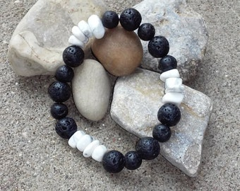 Howlite and Volcanic Lava Rock Bracelet, Men's Gemstone Bracelet, Protection Crystals, Balancing Crystals, Anxiety Jewelry