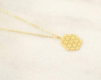 Flower Of Life Gold Necklace - Sacred Geometry - Mandala Necklace - Holistic Yoga Chakra Jewelry