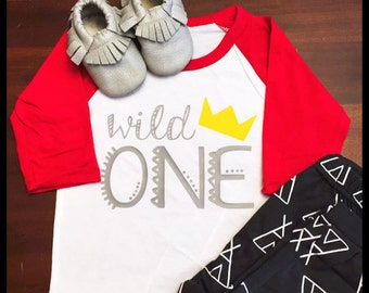 Wild One Raglan Tee Kids- boys' birthday party shirt personalized clothes-first birthday party-tribal