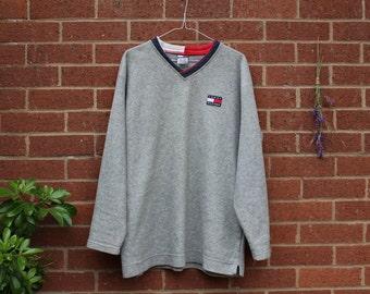 VINTAGE TOMMY HILFIGER, Grey Oversized Men's Xl Sweatshirt