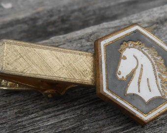 Vintage Horse Gold Colored Enamel Tie Clip. 1960s. Gift for men, groomsmen, dads, grads, husbands, brothers, sons