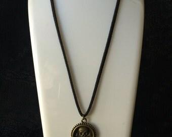Skull and crossbones necklace, skull pendant