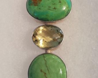 925 Silver, Green 'Tibetan' Turquoise and Lemon Quartz womans pendant