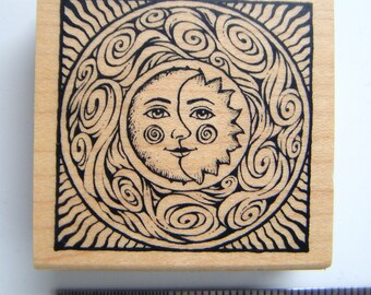 Sun and Moon rubber stamp