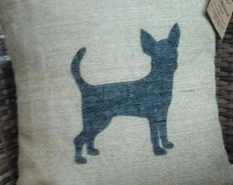 Hessian French  Chihuahua dog cushion cover jute burlap