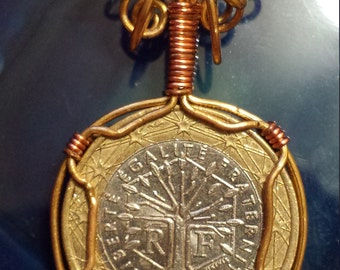 Wire Wrapped 1 Euro Coin Pendant