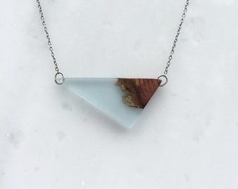 Light Blue Resin Necklace - Wood and Resin Pendant with Oxidized Silver Chain