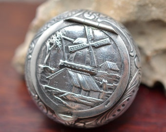 Dutch Silver Miniature Snuff or Patch Box , Repousse Scene on Lid