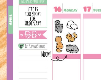 Cute Cat Planner Stickers (V108*)