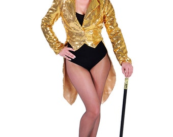 Deluxe GOLD  Ladies Sequinned Tailcoats - Cabaret / Rocky Horror / Show