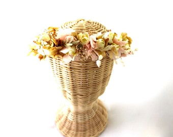 Flower,crown,dried,natural,preserved,cream,mustard,pink,ligth,oatmeal,oats, white,ivory,natural colors, boho,woodland,chic,hydrangea