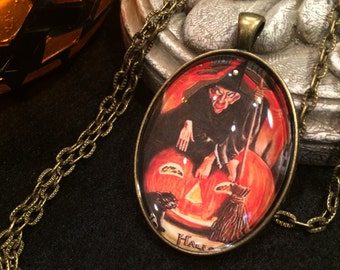 Scary Witch on Pumpkin Jack O' Lantern Black Cat Halloween Bronze or Silver Pendant Necklace Victorian Vintage Halloween