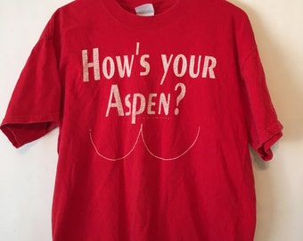 Vintage 90s Red How's Your Aspen T Shirt Size Large