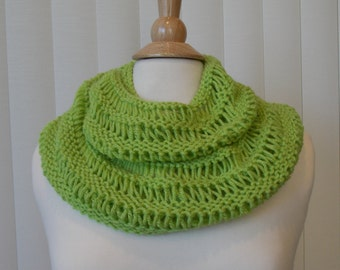 Hand Knitted Infinity Scarf, Lime Green Knit Scarf, Knitted Infinity Cowl
