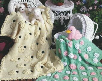 Baby Afghan /Blanket. Two Crochet Patterns, Baby's Garden and Baa Baa Blankie