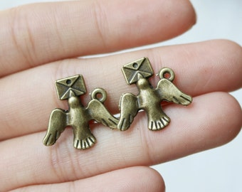 Set of 10, Message Bird Charm, Dove Charm, Baby Dove Charm, Bird Pendant, Animal Pendant, Fast USA Shipping, DIY Designer,