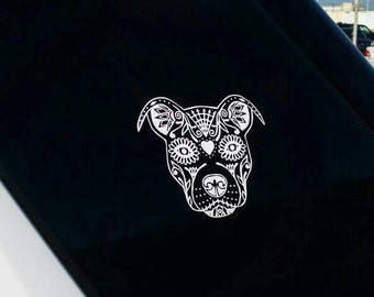 Sugar Skull Pit Bull Car Decal~Sugar Skull Pit Bull Decal~Sugar Skull Vinyl Car Decal~Ready to stick/apply decal~Sugar Skull Decal~Yeti