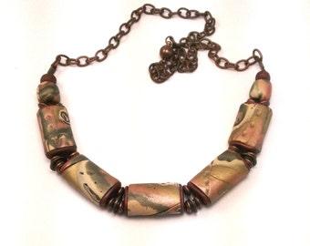 polymer clay necklase-brown copper-necklace- polymer clay jewellry-unique jewellry-handmade jewellery