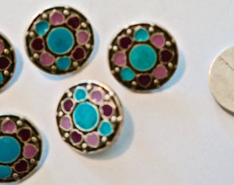 Buttons-pewter-Set of 6-Pewter with turquoise and pink hearts