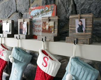 Christmas Wood Stocking Holder for Mantel