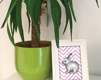 Bunny Rabbit illustration print, bunny nursery decor, blue green orange pink rabbit present, gift for rabbit lover, bunny art UK