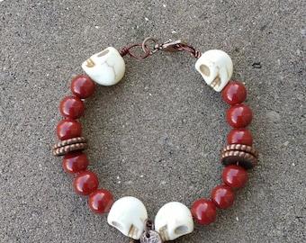 Maroon Skull & Disc Bracelet