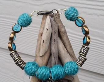 Teal Wool Bracelet