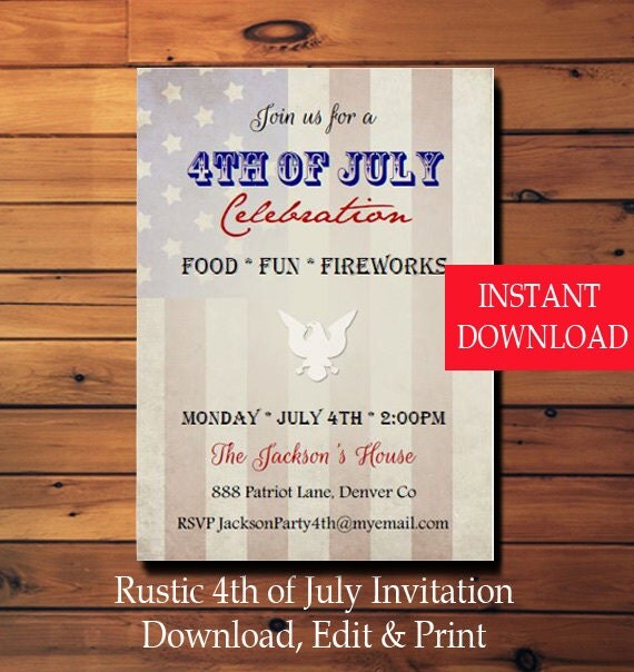 4th of july invitation rustic american flag invite instant download
