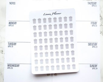 Mini Grey Trash Can (Matte planner stickers, perfect for planners)