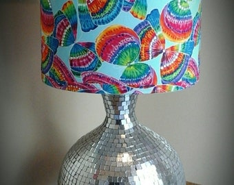 Rainbow Butterfly lamp shade tie dye butterfly fabric covered oval lamp shade with  rhinestone accents