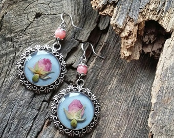 Elva Handmade Epoxy Resin Women Dangle Earrings Jewelry, Perfect for Bridesmaids, Real Flower Pink Rose on blue Inside of a Pendant, Kazakh