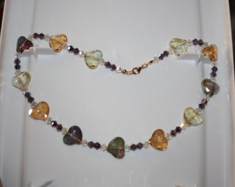 Multi-color Glass Heart Necklace