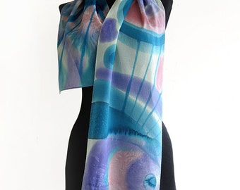 Abstract scarf hand painted. Blue lilac long scarf. Unique silk scarf paint by hand. Batik scarf. Women christmas gift.