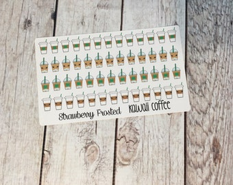 MINI Coffee/Iced Coffee Kawaii Themed Planner Stickers- Made to fit Vertical Layout