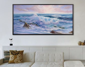 Ocean Art, Large Framed Seascape Painting, Ocean Waves, Coastal Landscape, Original Oil Painting on Canvas, Reaching for the Heaven