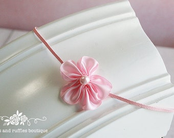 Pink Baby Headband, Baby Girl Headband, Newborn Headband, Flower Headband, Baby Photo Prop, Infant Headband, Petite Baby Headband
