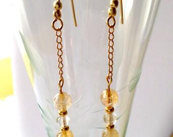 Earrings. Citrine & Gold chain Dangle Earrings. Faceted Citrine 6mm rounds. Hypoallergenic Gold earring hooks. Dangle Earrings.