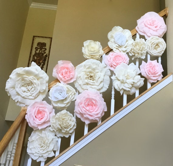 Display Baby Shower: Large Crepe Paper Flower Display Set Of 16 Paper Flowers For