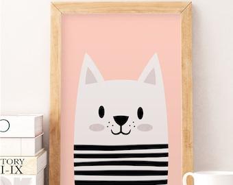Cute cat, Little cat, Scandinavian nursery, Minimalist nursery, Pink nursery, Pink print, Safari print, Wall decor kids, Kids room art