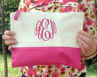 Monogram Cosmetic ~ monogram canvas cosmetic ~ Monogram Makeup bag~ Pink Cosmetic Bag ~ Graduation gift ~ Bridesmaid~ wedding~