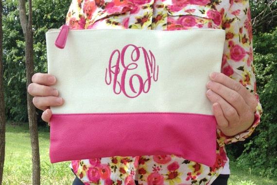 Monogram Cosmetic ~ monogram canvas cosmetic ~ Monogram Makeup bag~ Pink Cosmetic Bag ~ Graduation gift ~ Bridesmaid~ wedding~