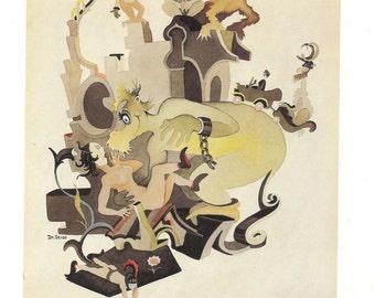 """Dr. Seuss,Vintage Art Print,Ted Geisel's """"private"""" art,Dr Seuss Book Print,Antique Art Print,Dr Seuss Secret Art"""