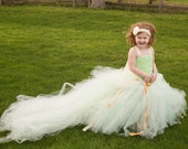 Tutu Train, Girls Beautiful Removable Tulle Ribbon Train, Flower Girl Train, - Wedding Flower Girl Dress, Dramtic Elegant, Wedding Accessory