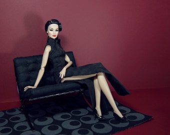 black cheongsam for fashion royalty , Poppy Parker, Silkstone Barbie, fr2 , 12'' Fashion Doll