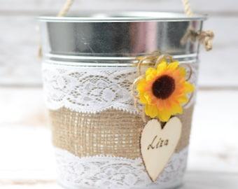 Rustic Flower Girl Bakset  Sunflower Personalized Rustic Wedding Flowergirl Basket Pail Nautical Wedding decor