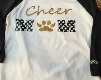 Personalized Cheer Mom Shirt. Custom Raglan Team Shirt. 3/4 Sleeves Raglan Shirt Personalized Mom Shirt. Team Spirit Raglan Shirt. Glitter
