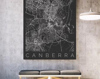 Map of Canberra - Canberra, Australia Map - Map ART - Burley Griffin Poster  - Bush Capital Print - Scandinavian Art - Travel Map