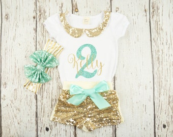 Girl birthday outfit, 1st birthday outfit, mint and gold birthday outfit,  girl second birthday outfit, 2nd birthday, gold glitter birthday